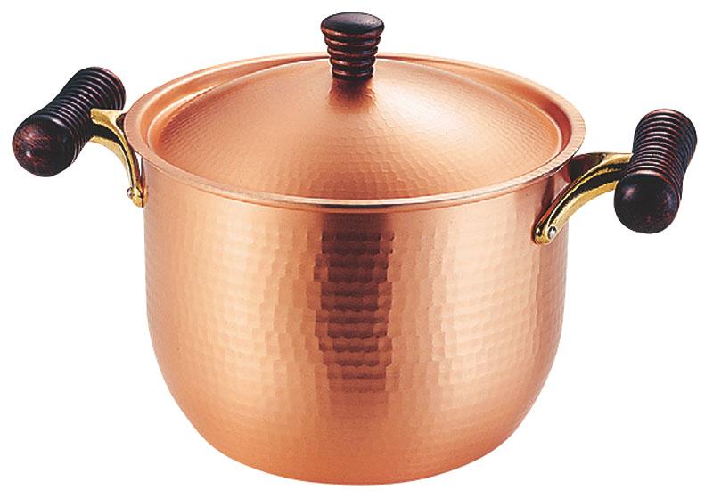 日本製 職人の 手作り おしゃれ で 使いやすい  鎚目 銅製 両手 深型 鍋 21cm 高 熱伝導率 業務用 可