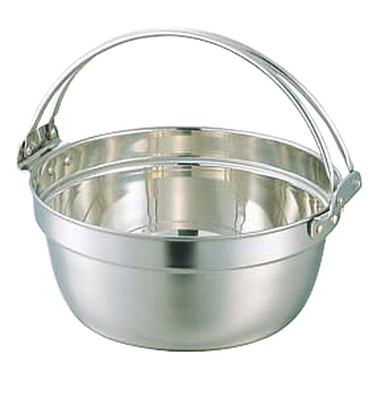 クーポンで23%OFF 日本製 18-8 ステンレス 採用 ツル付 料理 鍋 33cm ( 10.6L )   耐食性 ・ 保温性 抜群 プロ仕様 業務用 可