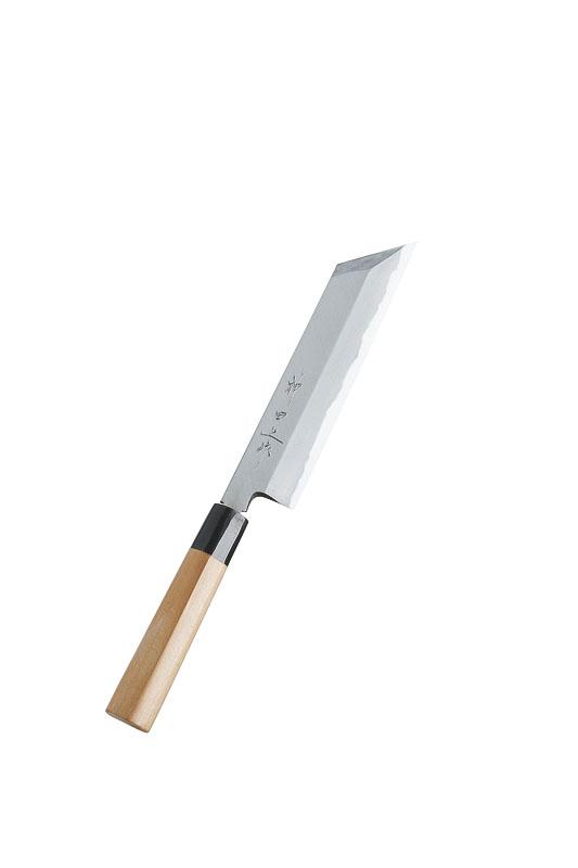 クーポンで23%OFF 日本製 和包丁 伝統の技 プロ仕様 むき物 包丁 210mm 白二鋼 本露研 水牛桂柄 業務用 可