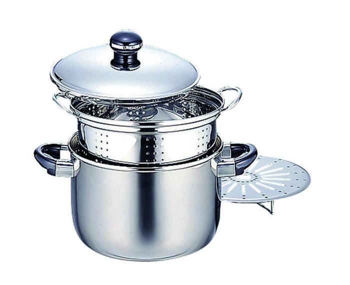 鍋 全面鉄芯3層鋼 オブジェ 両手鍋 IH対応 シチューポット 穴明内鍋 スチームプレート付 22cm 国産 日本製