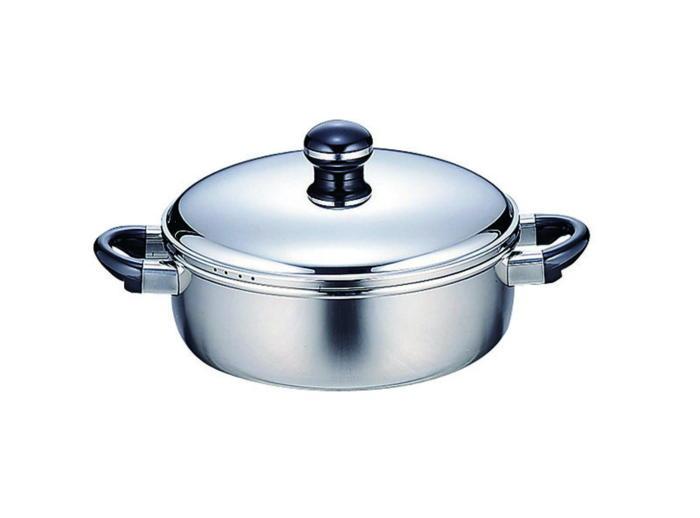 クーポンで23%OFF 鍋 全面鉄芯3層鋼 オブジェ 両手鍋 IH対応 テーブルポット 25cm 国産 日本製
