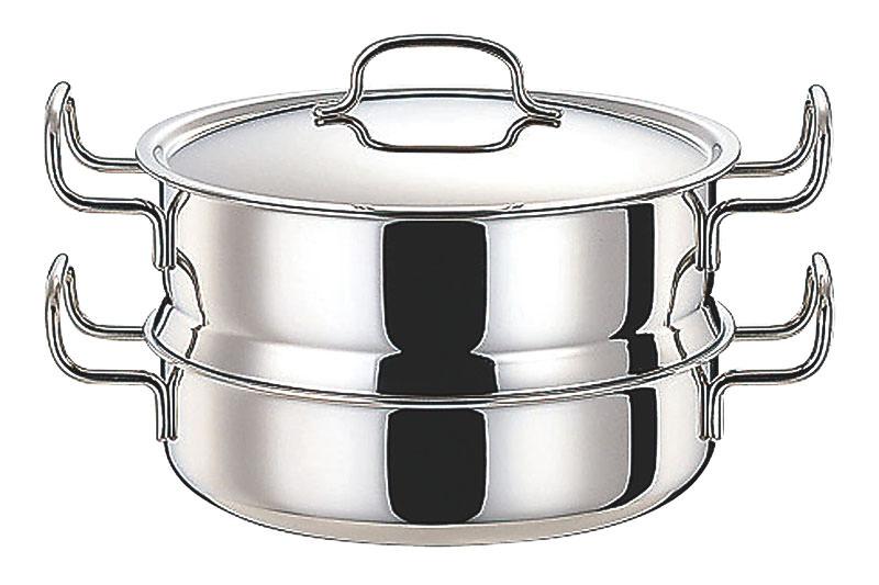 [まとめ買い 限定クーポン付] 鍋 ステンレス多層鍋 ジオ・プロダクト IH 対応 余熱調理 無水調理 蒸し器付鍋 25cm 国産 日本製