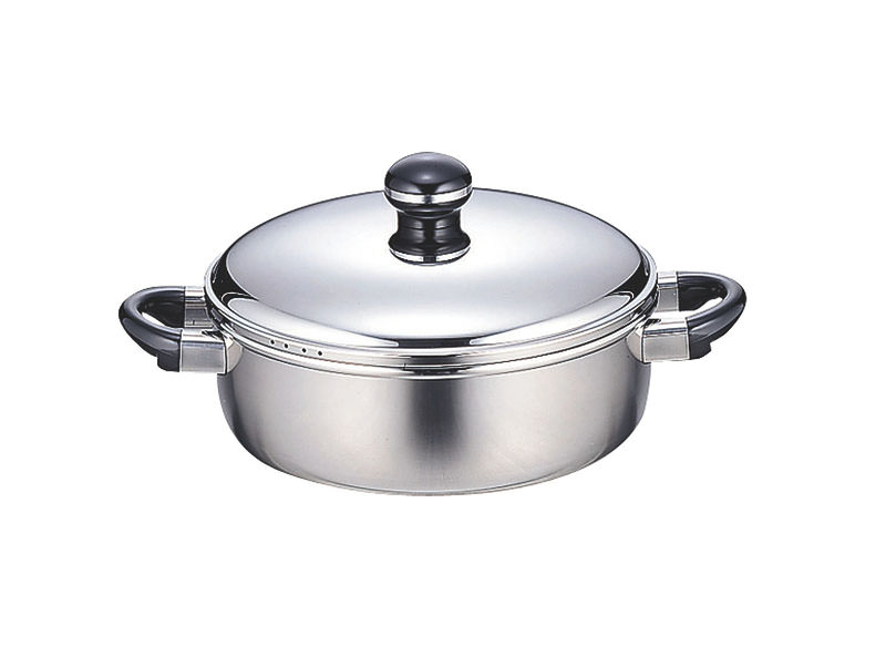 クーポンで23%OFF 鍋 全面鉄芯3層鋼 オブジェ 両手鍋 IH対応 テーブルポット&お玉 25cm 国産 日本製