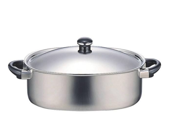 鍋 全面アルミ芯3層鋼 オブジェ IH対応 スチームプレート付楕円鍋 焦げ付きにくい 国産 日本製