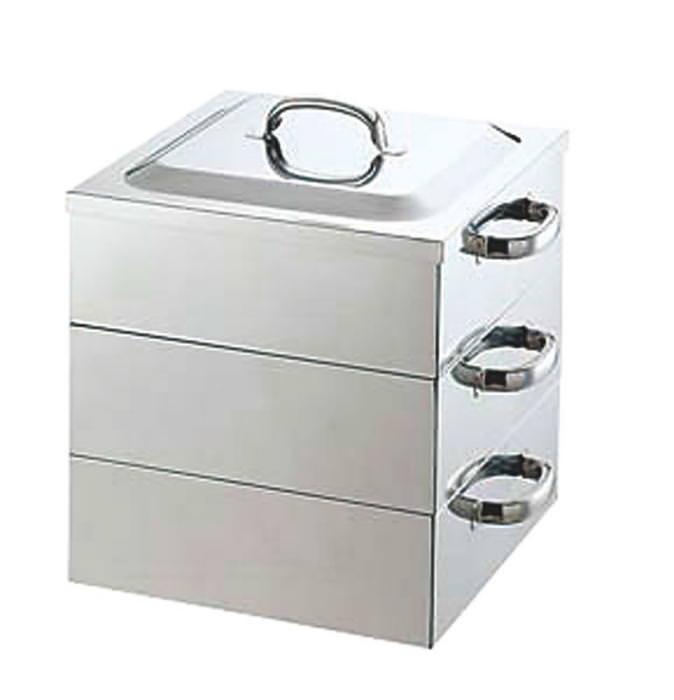 [お買い物マラソン 限定クーポン付] 蒸し器 ステンレス製 衛生的 大人数用に便利 業務用角蒸器 3段 39cm 国産 日本製