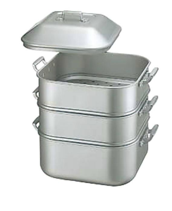 [お買い物マラソン 限定クーポン付] 蒸し器 アルミニウム アルマイト加工 丈夫 耐食性に優れている 業務用 キングアルマイトジャンボ蒸器 中 茶碗48ヶ 国産 日本製
