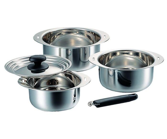 鍋 鍋セット アルミ芯3層鋼 コンパクト収納 IH 対応 十得鍋 ソースポット 片手ハンドル 兼用蓋 16.18.20cm 国産 日本製