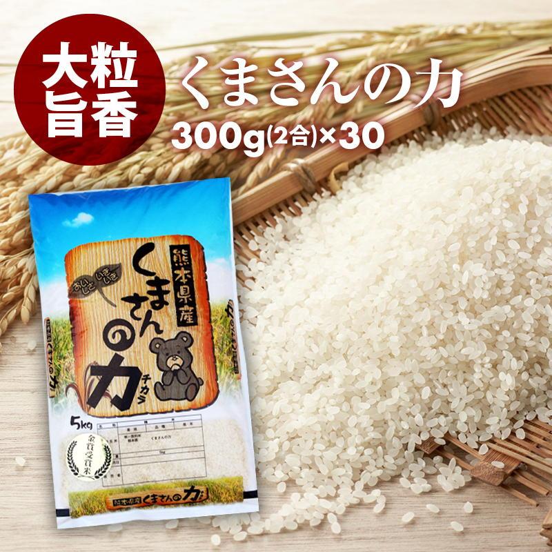 無洗米 小分けパック お 米 新鮮 長持ち 食味ランク特A くまさんの力 2合 (300g) 30パック 平成29年産 精米 熊本県産