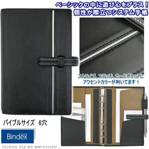 バインデックス システム手帳 バイブルサイズ 黒 本革製