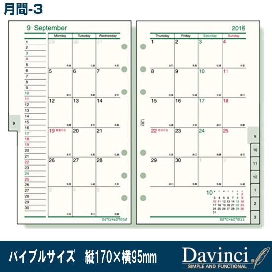 システム手帳 リフィル ダイアリー 令和4年 聖書サイズ6穴 超特価SALE開催 2022年 バイブルサイズ ヴィンチ ダ 月間-3 オンラインショッピング DR2220