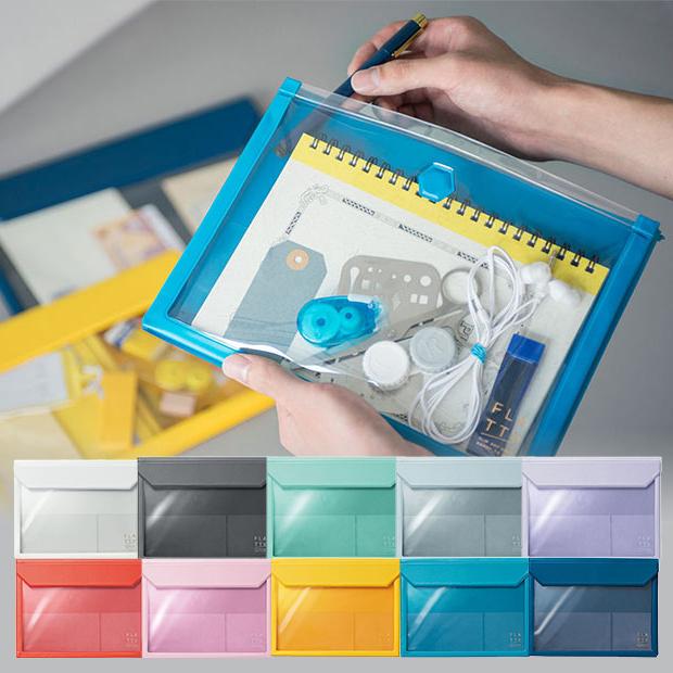 お洒落な透明バッグインバッグ 値引き A5 透明 バッグインバッグ フラッティ 返品送料無料 横型 キングジム