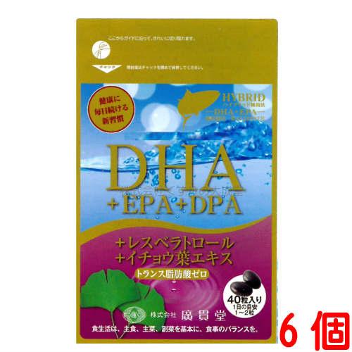 DHA+EPA+DPA+レスベラトロール+イチョウ葉エキス 6個(40粒 6個)広貫堂 廣貫堂