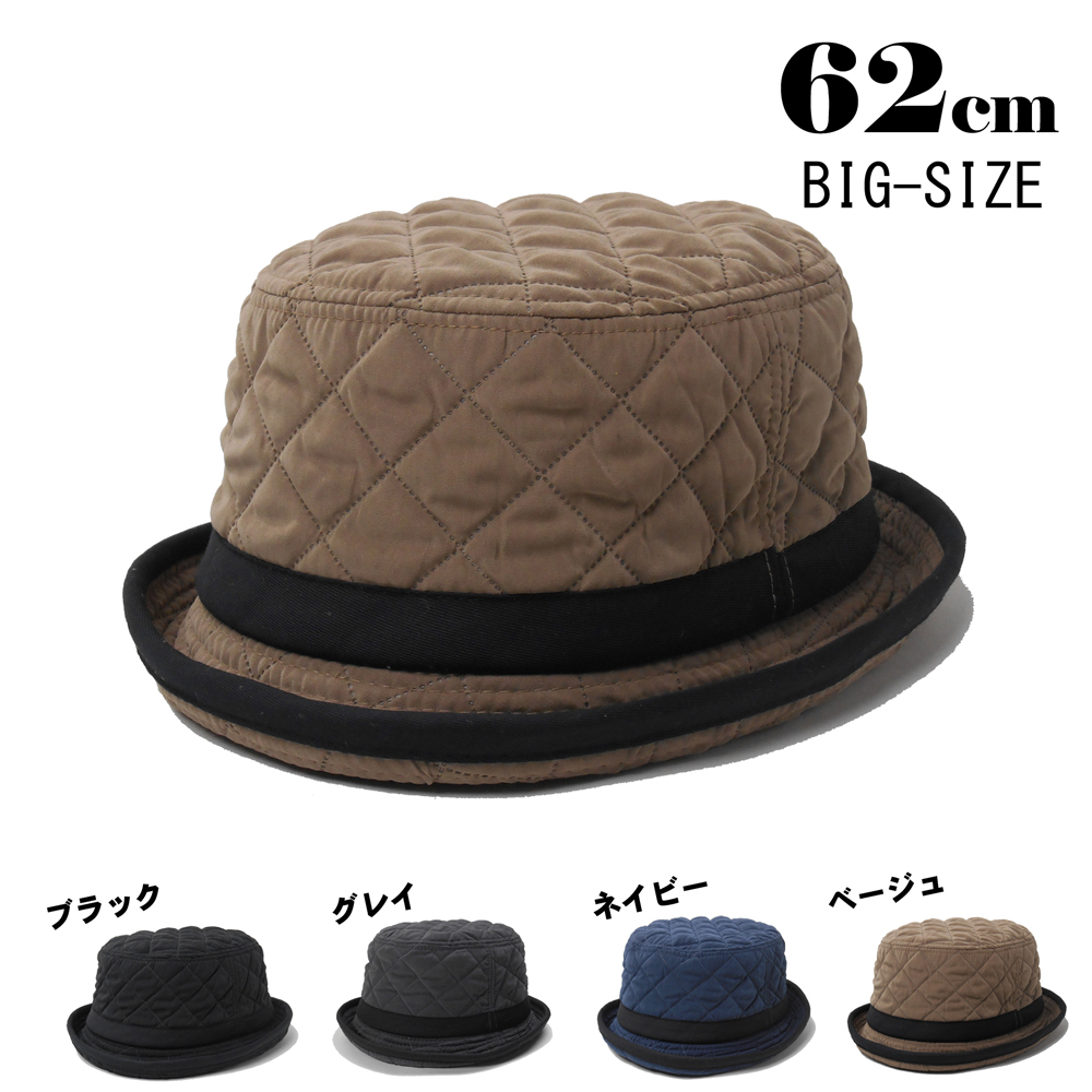 a73e8493113d77 A wide-brimmed hat ladies men's large size and big hit 62 cm quilting  porkpie ...