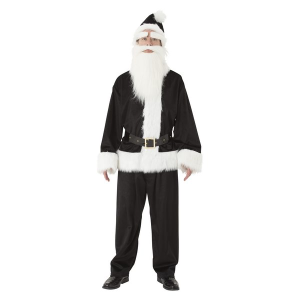 GOGOサンタさん ブラック 白い手袋付き メンズ 大人用 男性用 Mens【黒 コスチューム クリスマス サンタさん サンタ衣装 カラフルサンタ 変装】白い手袋プレゼント マジックナイト CS873617