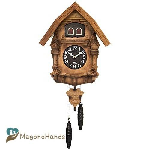リズム RHYTHM カッコー 掛け時計 カ 本物 通常便なら送料無料 カッコーテレスR 日本製 木 本格的ふいご式 木地仕上 茶