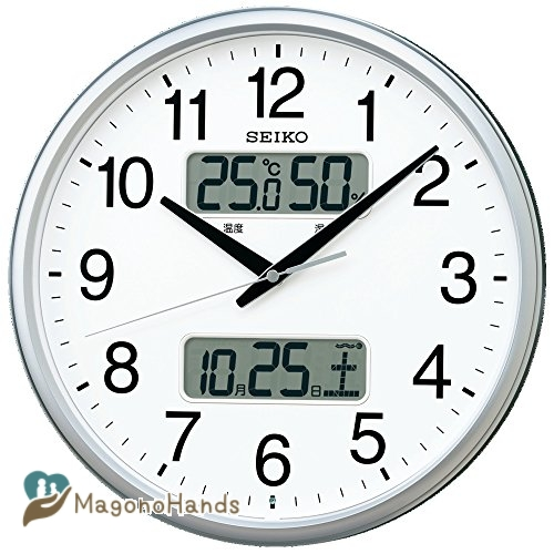感謝価格 セイコー クロック 掛け時計 電波 アナログ カレンダー 温 湿度 SEIKO メタリック 温度 銀色 デポー KX235S 表示