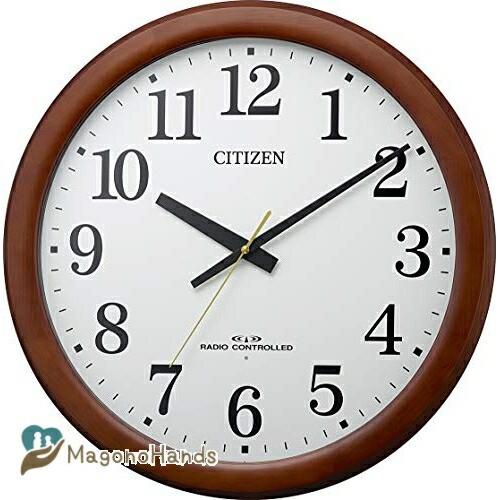 リズム RHYTHM 掛け時計 茶色 Φ53.4x6.1c Φ53.4x6.1cm 電波時計 木枠 連続秒針 石膏ボード対応 静か 激安挑戦中 大型 時計 8MY548-006 特売