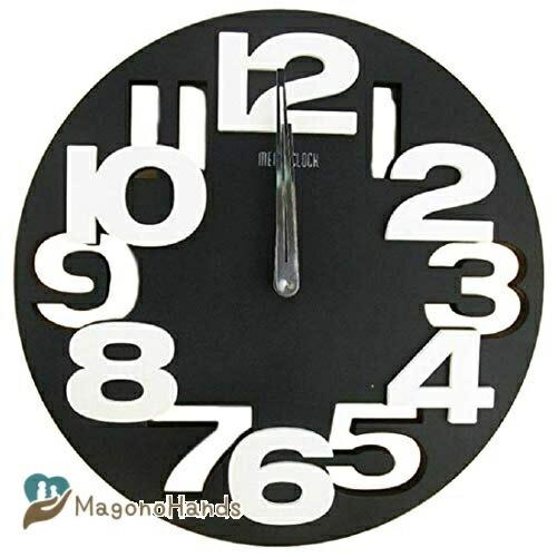 往復送料無料 笑顔一番 黒 クール で オシャレ 無料 な モダン アート 3D 立体 ブラック の 壁掛け クロック A064-06 ウォール 時計 デザイン