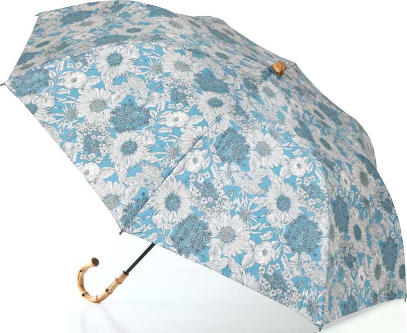 LIBERTYリバティプリントを使った晴雨兼用折り畳み傘パラソル(日傘)<Swim Dunclare>(スウィム・ダンクレア)SAサックス 959401