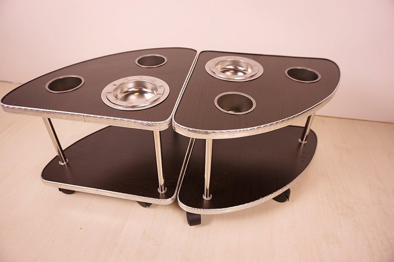 2脚セット サイドテーブル 灰皿・ドリンクホルダー付き 全自動麻雀卓に最適