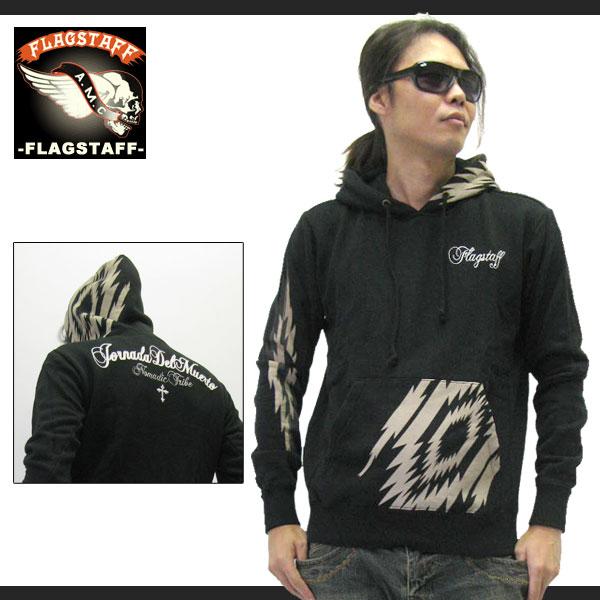 【FLAGSTAFF】NATIVE CHIMAYO 刺繍入り プルオーバーパーカー BLACK (re-423327)