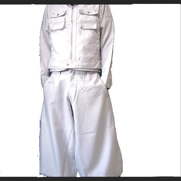 (寅壱/寅一)人気の矢羽総柄7260シリーズ ライダースジャケット & 超超ロング八分 ズボン37.シルバー 7260s554418  作業服 作業着