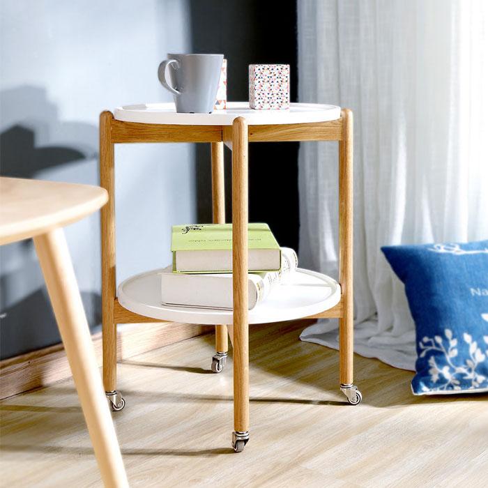 MAHOME (マホーム) サイドテーブル テーブル 木製 丸 ベッド テーブル ワゴン 46×46×54CM 白 キャスター キャスター付き 二段 ラウンドテーブル 円形テーブル 北欧 西海岸 木製 キッチンワゴン ヴィンテージ コンパクトアジアン 介護 軽量 丸型 ラウンド 可動式 回転