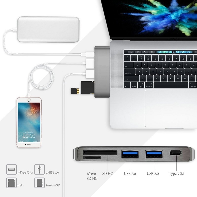 USB-C 5in1 カードリーダー&USB3.0×2ポート ハブ付 Cメス給電ポート付 アダプタ USB3.1 Type C to SD/SDHC UHS-I/SDXC UHS-I/TF/MicroSD/Micro SDHC UHS-I/Micro SDXC/Micro SDXC UHS-I(Max 2TB) For New Macbook chromeBook Pixel Surface Book2※WINDOWS PC条件付