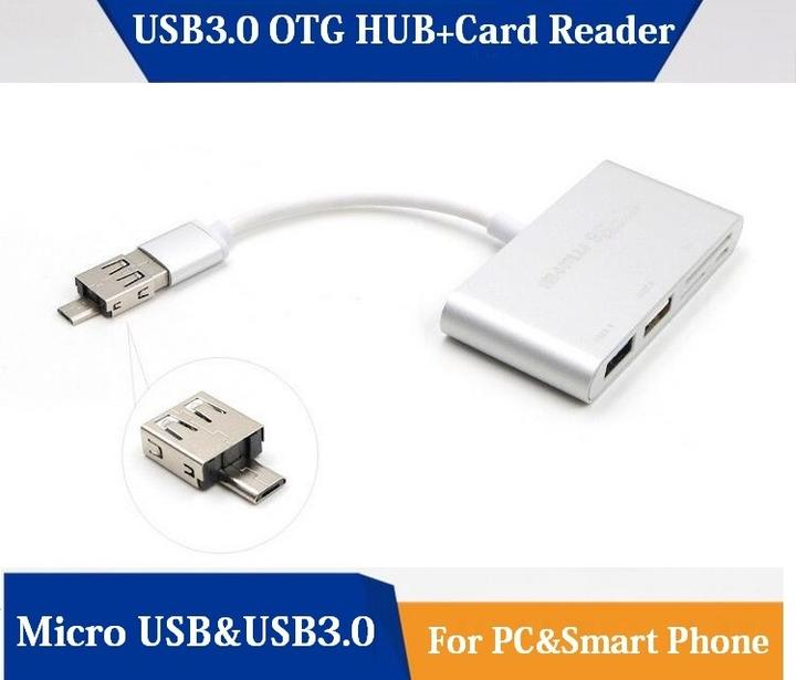 Micro USB to USB 3.0 Adapter USB3.0 SD//Micro SD Card Reader Adapter Gold