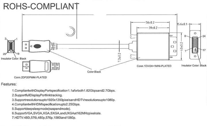 DisplayPort to DVI-D (24+1) pin conversion cable male - male DP-DVI 1 8m  1080P (unusable 1,920*1,200)