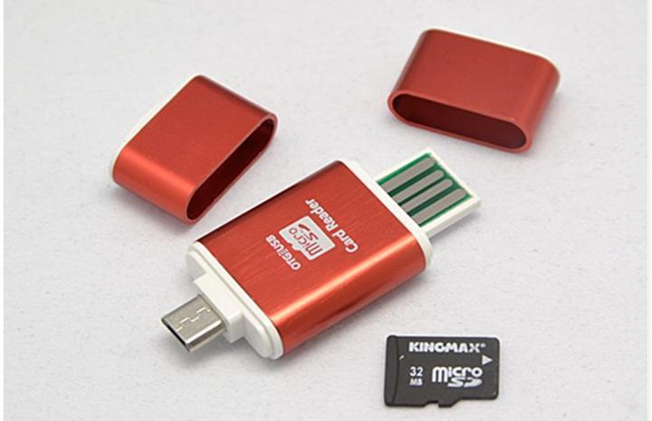USB2.0/Micro USB 5ピン-Micro SD/TF T-Flash 2in1カードリーダー/ライター OTG マイクロUSB 5ピン アンドロイド スマートフォン/タブレット/USB2.0 PC対応 タイプC厳禁 (ブルー、レッド、グリーン、ゴールド)4カラー選択