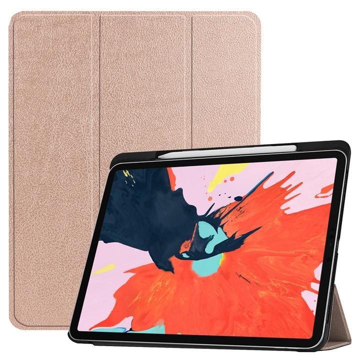 送料無料iPadPro11インチ/Pro12.9インチ第3世代2018年版選択PU革スマートカバーケース三つ折りオートスリープ機能アップルペンシル収納スロット付(ブラックブラウンブルーグレーネイビーパープルローズレッドゴールドローズゴールド)9カラー選択