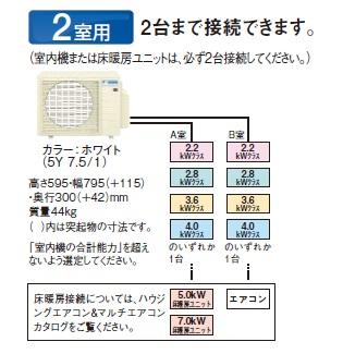 【最安値挑戦中!最大23倍】マルチエアコン ダイキン 2M45RAV システムマルチ 室外機のみ 2室用 4.5kW 単相200V [♪▲]