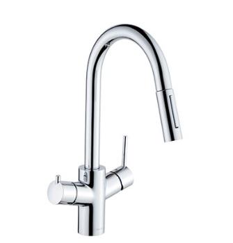 【最安値挑戦中!最大34倍】セラトレーディング HGM13806S キッチン用浄水器兼用湯水混合栓(スパウト引出しタイプ) クロム [■]
