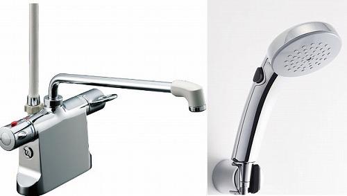 【最安値挑戦中!最大34倍】水栓金具 INAX BF-B646TSCW(300)-A85 サーモスタット付シャワーバス デッキ・シャワータイプ 乾式工法 逆止弁付 一般地 [□]