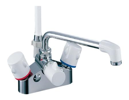 【最安値挑戦中!最大25倍】水栓金具 INAX BF-M616H シャワーバス デッキ・シャワータイプ 2ハンドル ミーティス 逆止弁付 乾式工法 一般地 [□]