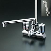 【最安値挑戦中!最大34倍】シャワー水栓 KVK KF206ZG デッキ形一時止水付2ハンドルシャワー 寒冷地用 取付ピッチ120mm
