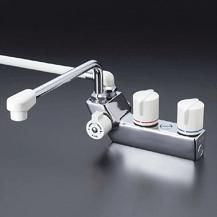 【最安値挑戦中!最大24倍】シャワー水栓 KVK KF207R3 デッキ形一時止水付2ハンドルシャワー 取付ピッチ85mm 300mmパイプ付 左側シャワー