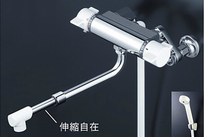【最安値挑戦中!最大34倍】シャワー水栓 KVK KF800HASJ サーモスタット式シャワー 伸縮自在パイプ付 楽締め水栓