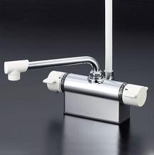 【最安値挑戦中!最大34倍】シャワー水栓 KVK KF801 デッキ形サーモスタット式シャワー 取付ピッチ100mm