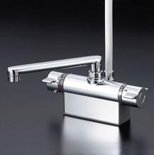 【最安値挑戦中!最大34倍】シャワー水栓 KVK KF801T デッキ形サーモスタット式シャワー 取付ピッチ100mm