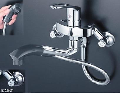 【最安値挑戦中!最大25倍】混合栓 KVK KM5000ZTP 流し台用シングルレバー式シャワー付混合栓 寒冷地用