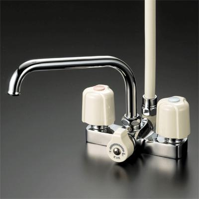 【最安値挑戦中!最大25倍】水栓金具 KVK KF14ZER2 デッキ形2ハンドルシャワー 寒冷地用