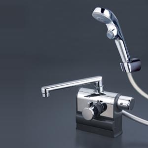 【最安値挑戦中!最大25倍】KVK KF3008RR3S2 デッキ形サーモスタット式シャワー 右ハンドル仕様 (300mmパイプ付) メッキワンストップシャワーヘッド付