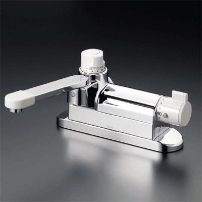 【最安値挑戦中!最大25倍】混合栓 KVK KM297G お湯ぴた デッキ形定量止水付サーモスタット式混合栓