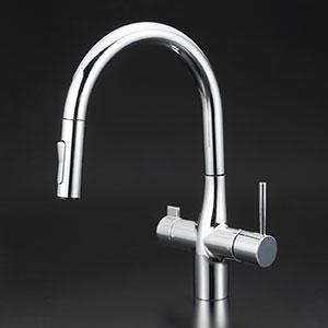 【最安値挑戦中!最大34倍】KVK KM6081V11EC 浄水器専用シングルレバー式シャワー付混合栓(グース)eレバー