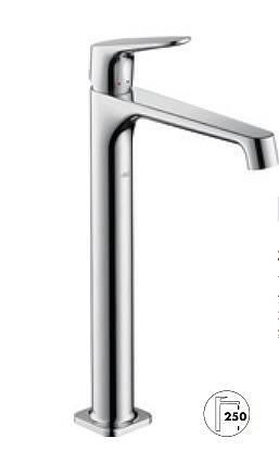 【最安値挑戦中!最大25倍】ハンスグローエ 34127000 シングルレバー洗面混合水栓250(ベッセル型洗面器用、ポップアップ引棒無) アクサーチッテリオM [■]