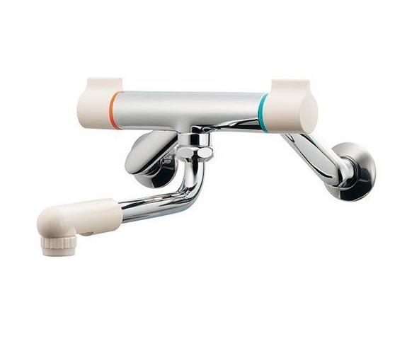 【最安値挑戦中!最大25倍】水栓金具 カクダイ 128-110K 2ハンドル混合栓(壁付) 寒冷地用 [□]