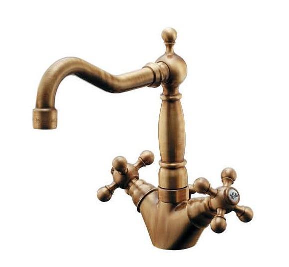 【最安値挑戦中!最大34倍】水栓金具 カクダイ 150-433-AB 2ハンドル混合栓(オールドブラス) [♪■]