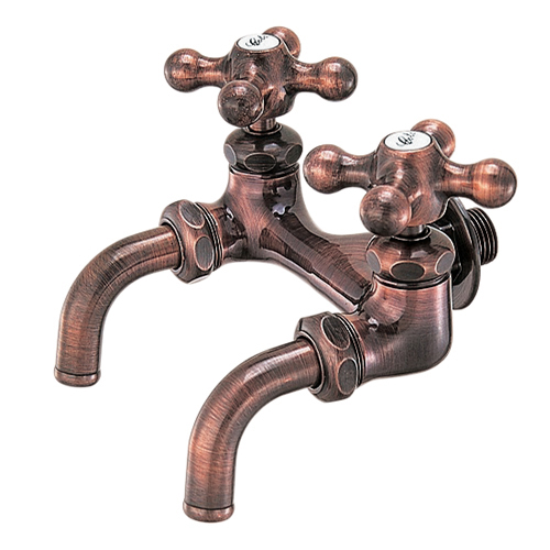 【最安値挑戦中!最大25倍】水栓 カクダイ 7050FBP-13 カラー双口ホーム水栓//ブロンズ [□]